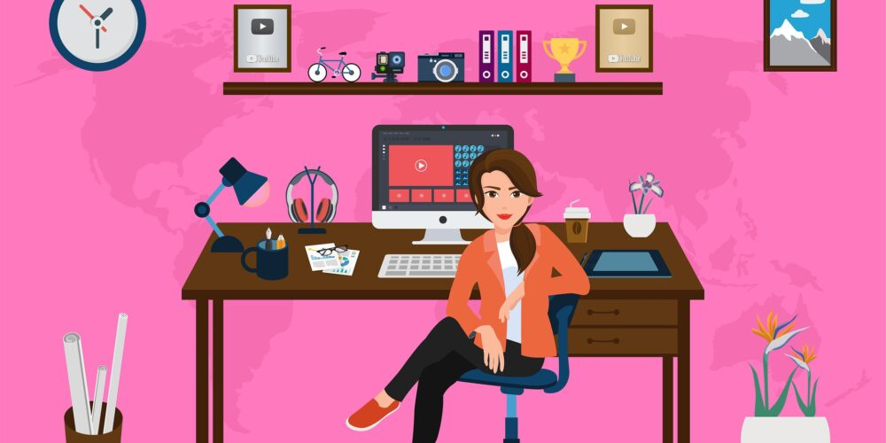 Working from home, pink office